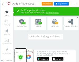 Software-Avira-Startübersicht