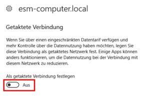 Windows 10 Einstellungen getaktete Verbindung Screenshot