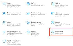 Systemeinstellungen Windows 10 Screenshot