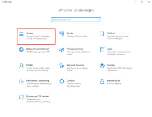 Windows 10 Einstellungen Systemeinstellungen