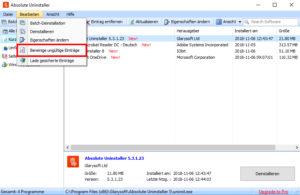 A_U ungültige Einträge Screenshot