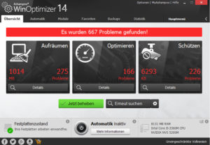 WinOptimizer Screenshot Probleme