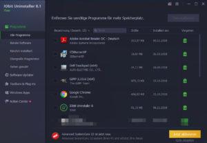 IObit Uninstaller Benutzeroberfläche Screenshot
