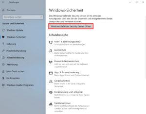 Windows 10 Sicherheit Defender Center Screenshot