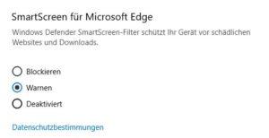 Sicherheitsrichtlinien für Apps Windows 10 Pro Screenshot