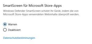 Smartscreen Optionen Screenshot