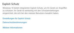 Exploitschutzeinstellungen Windows 10 Pro Sicherheit Screenshot