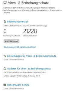 Anti Virus und Bedrohungsschutz in Windows 10 Einstellungen Screenshot
