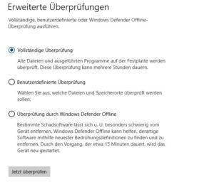 Überprüfungsoptionen Sicherheitseinstellungen Windows 10 Pro Screenshot