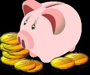 Sparschwein mit Münzen Grafik