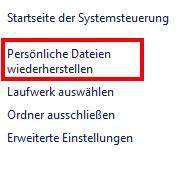 Die Systemsteuerung in Windows 10 - persönliche Daten wiederherstellen