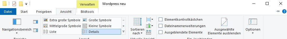 Menüleiste eines Fensters in Windows 10
