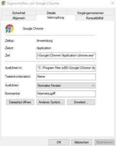 Desktop Shortcut erstellen Windows 10