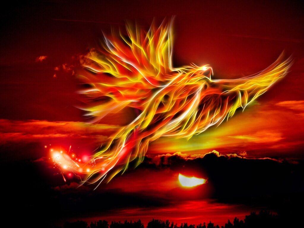 Phoenix erhebt sich vor rotem Hintergrund
