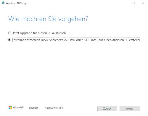 Screenshot Windows 10 Vorgang