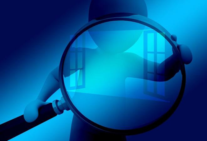 Blau Mensch Lupe Fenster
