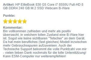 Screenshot Kundenbewertung 830 G5