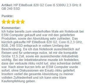 Screenshot HP 820 G2 Bewertung