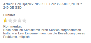 negative Bewertung Dell 7050 SFF